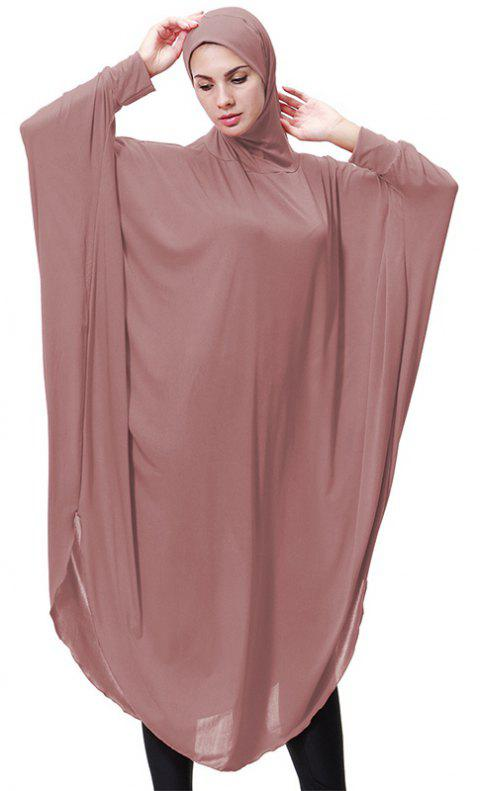 Solid Color Bat Sleeve Hooded Long Gown - LIPSTICK PINK M