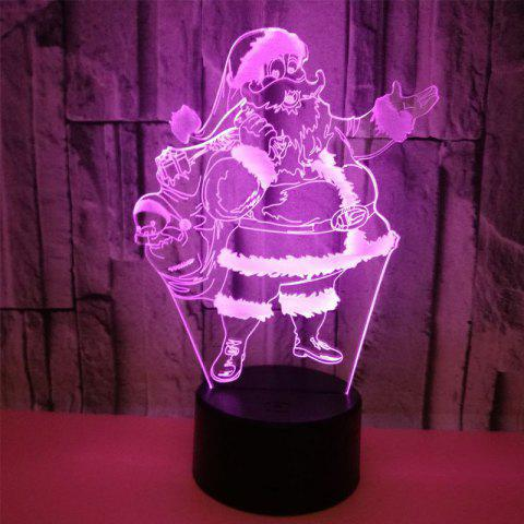 3D Santa Claus-Shaped Colorful Touching Night Lamp - WARM WHITE