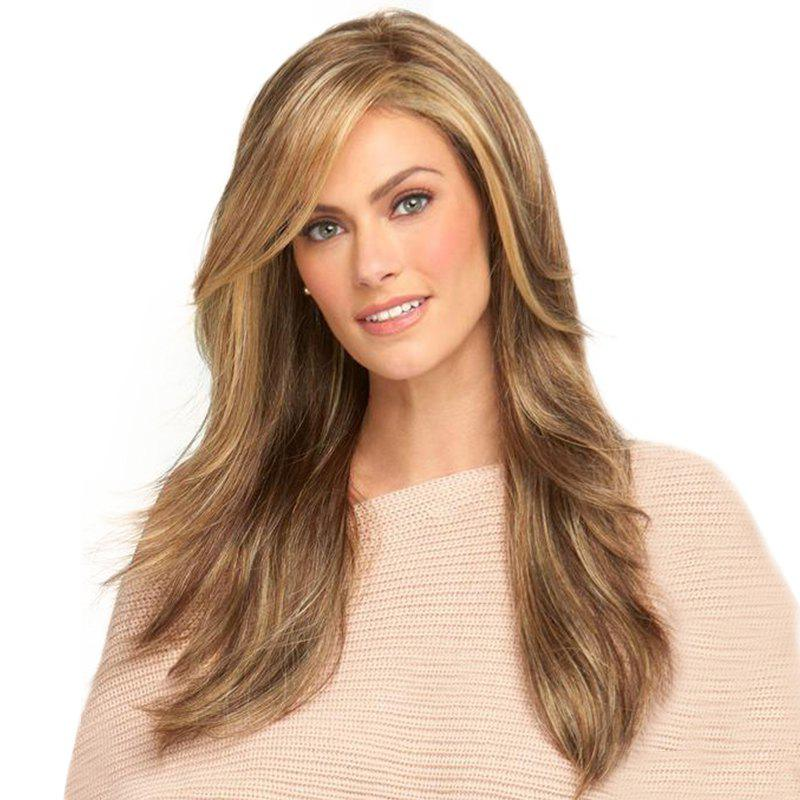 Fashionable Water Ripple Long Wig - CAMEL BROWN