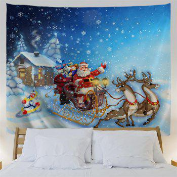 Santa Sleigh 3D Printing Home Wall Hanging Tapestry for Decoration - multicolor W200CMXL180CM