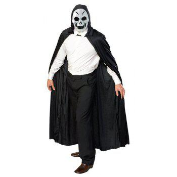 Halloween Death Cloak Hooded Cape Witch Adult Devil Robe Cosplay Party Supplies - BLACK