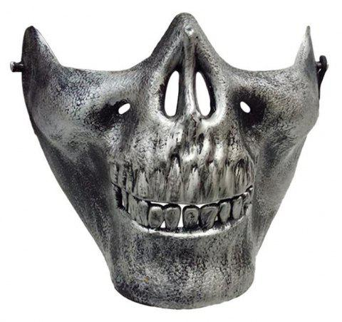Halloween Horror Half Chin Plastic Face Shield Human Skull Mask - SILVER