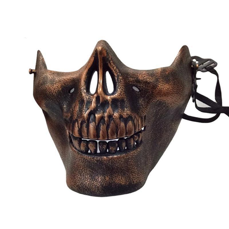 Halloween Horror Half Chin Plastic Face Shield Human Skull Mask - ROSE GOLD