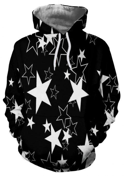 Black and White Five-pointed Star Print Men's Hoodie Sweater - GRAPHITE BLACK M