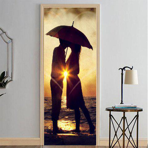 MailingArt 3D HD Canvas Print Door Wall Sticker Mural Home Decor Umbrella Lovers - multicolor 77 X 200CM