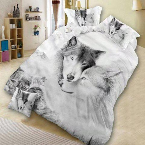 3PCS Bedding Set 3D Oil Printing Wolf  Three-piece suit - multicolor KING SIZE
