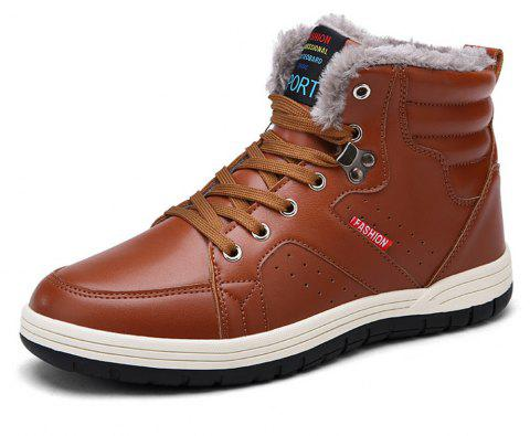 Winter Casual  Leather Snow Boots For Men - BROWN EU 44
