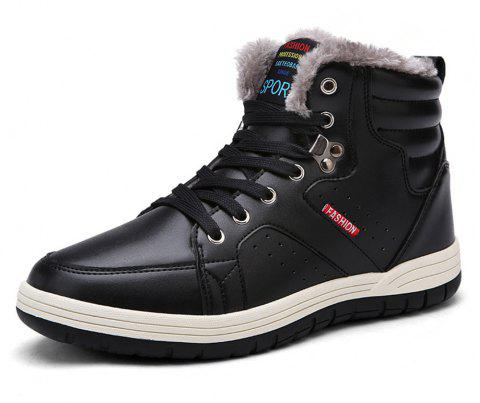Winter Casual  Leather Snow Boots For Men - BLACK EU 44