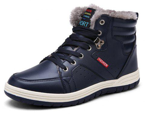 Winter Casual  Leather Snow Boots For Men - CADETBLUE EU 39