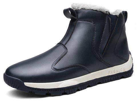 Men's Comfortable  Fashion Casual  Warm Leather Snow Boots - CADETBLUE EU 43