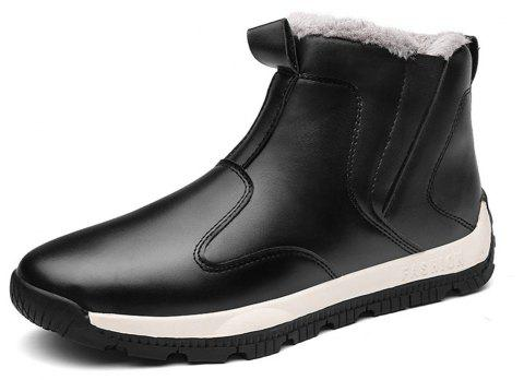 Men's Comfortable  Fashion Casual  Warm Leather Snow Boots - BLACK EU 39