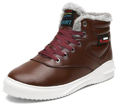 Men's Comfortable  Fashion Casual  Leather Snow Boots - DEEP COFFEE EU 39