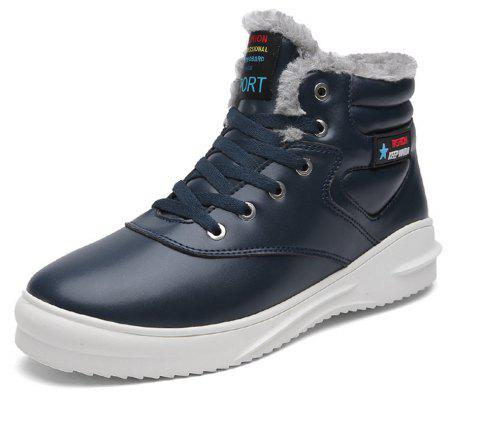Men's Comfortable  Fashion Casual  Leather Snow Boots - CADETBLUE EU 45