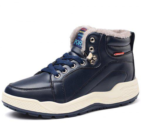 Winter Warm Fashion Casual Leather Snow Boots For Men - CADETBLUE EU 47