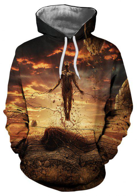 Spring and Autumn Thin Print Loose Casual Hooded Sweater - multicolor C M