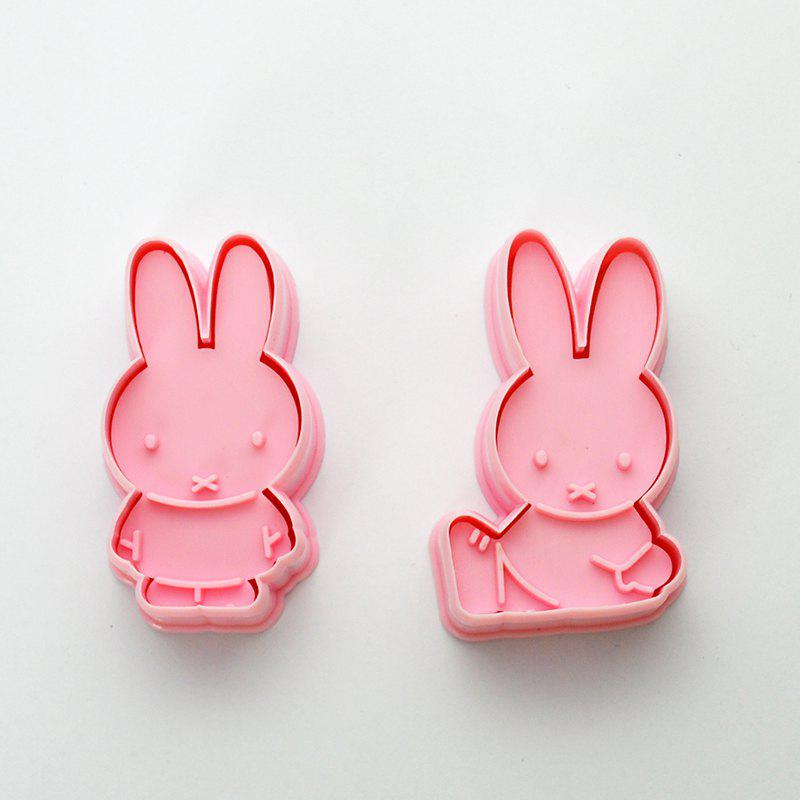 Pair of 3D Biscuit Cutters Rabbit Cookie Stamps - PINK ROSE