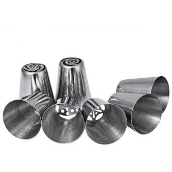 7 Pcs Stainless Steel Russian Tulip Icing Piping Nozzles - SILVER