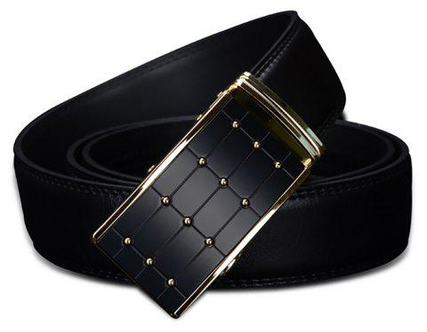 COWATHER CZ023 Leather Casual Automatic Buckle Simple Business Dress Belt - BLACK 115CM