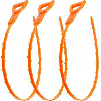 3PCS Snake Hair Clog Remover Outil de nettoyage - Orange