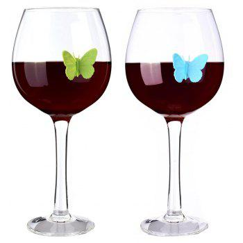 10 Sets of 3D Silicone Butterfly Wine Glasses Labeled Cute in A Variety of Color - multicolor