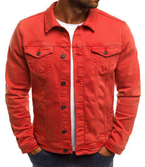 Casual Denim Jacket Short paragraphe Slim couleur unie hommes - Orange L