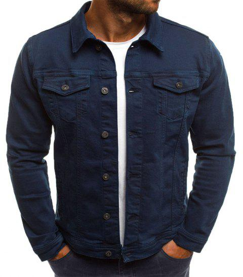Casual Denim Jacket Short paragraphe Slim couleur unie hommes - Cadetblue L