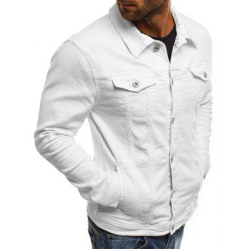 Casual Denim Jacket Short paragraphe Slim couleur unie hommes - Blanc 3XL