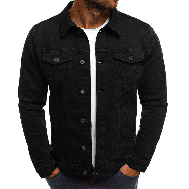 Solid Color Simple Men's Casual Denim Jacket Short Paragraph Slim - BLACK 3XL
