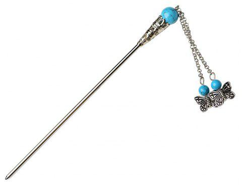 Hair Jewelry National Style Head Ornaments  Chinese Turquoise Hairpin  for Women - SKY BLUE