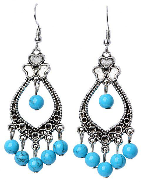National  Handmade Antique Alloy Turquoise Drop Earrings for Women Jewelry - SKY BLUE
