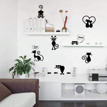Lovely Kitty Light Switch Wall Stickers - BLACK