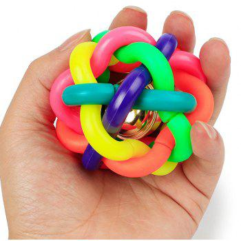 Pet Colorful Braided Bell Ball - multicolor S