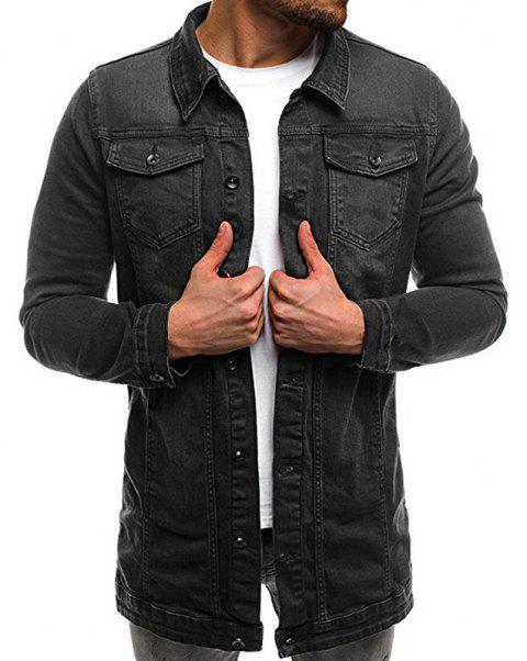 Men's Casual Slim Mid-length Long Washed Denim Jacket - BLACK XL