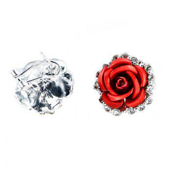 Fashion Alloy Diamond Red Rose Lady Earrings - RED