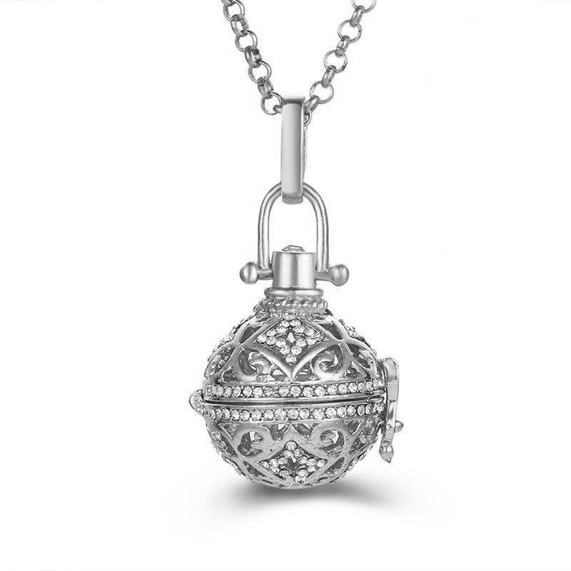 Aromatherapy Essential Oil Diffuser Piano Beads Antenatal Necklace - SILVER