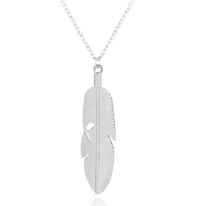Fashion Long Metal Leaf Feather Clavicle Sweater Chain - SILVER