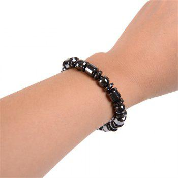 Simple Black Gall Magnet 8 Beads Men's Bracelet - GRAPHITE BLACK