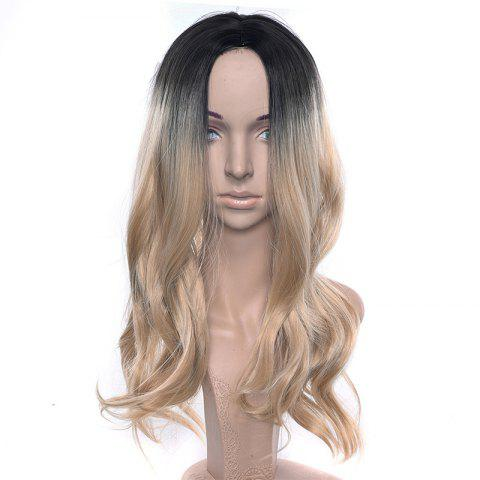 Central Parting Hair Style Gradient Ramp Big Wave Long Wig - TAN