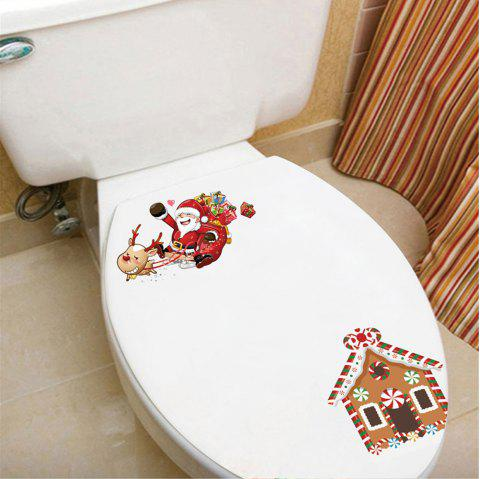 Santa Claus Fridge Toilet PVC Wall Stickers - multicolor