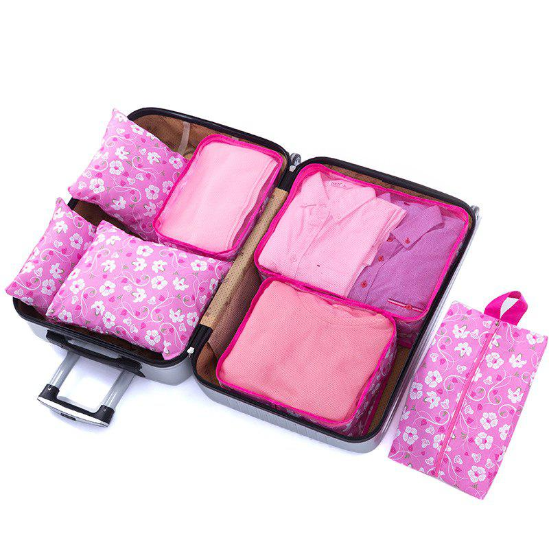 Travel Storage Bag Luggage Underwear Shoes Bags 7 Piece Set - ROSE RED