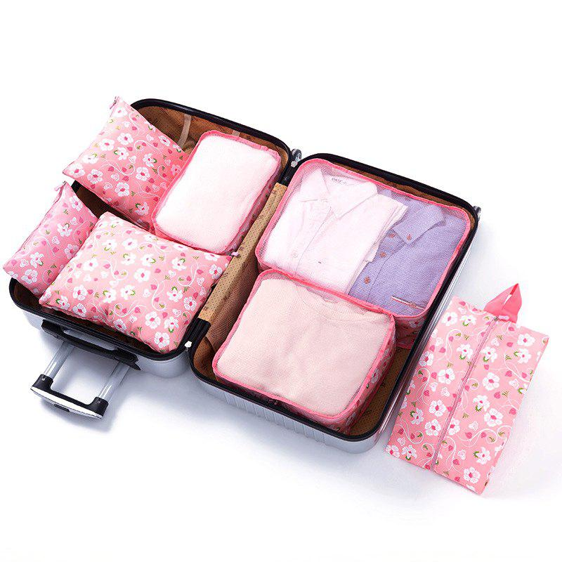 Travel Storage Bag Luggage Underwear Shoes Bags 7 Piece Set - PINK
