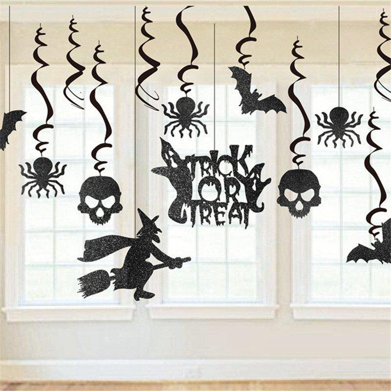 13 Set Glitter Haunted House Chandelier Halloween Party Decorating Kit - BLACK