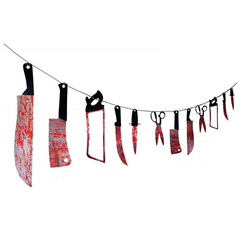 12 PCS Bloody Was Garland Halloween Props - multicolor