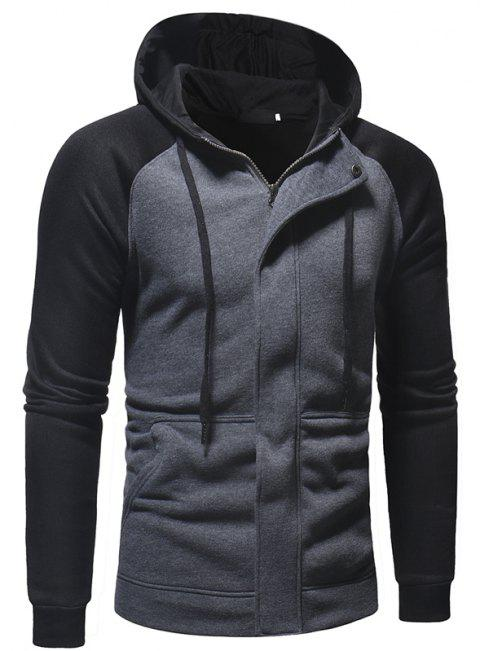Men's Casual Fashion Stitching Hooded Sweater - GRAY M