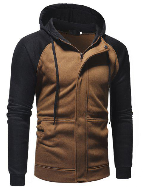 Men's Casual Fashion Stitching Hooded Sweater - BROWN L