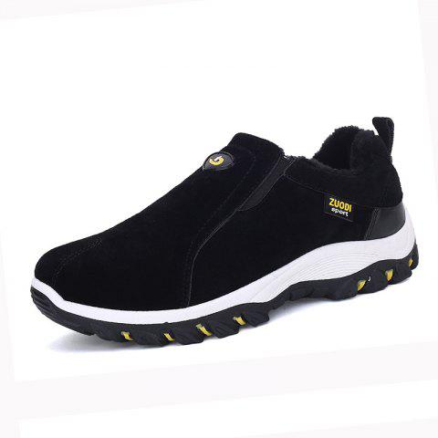 Men Cotton Warm Suede Sneakers Slip on Winter Plus Size Shoes - JET BLACK EU 43