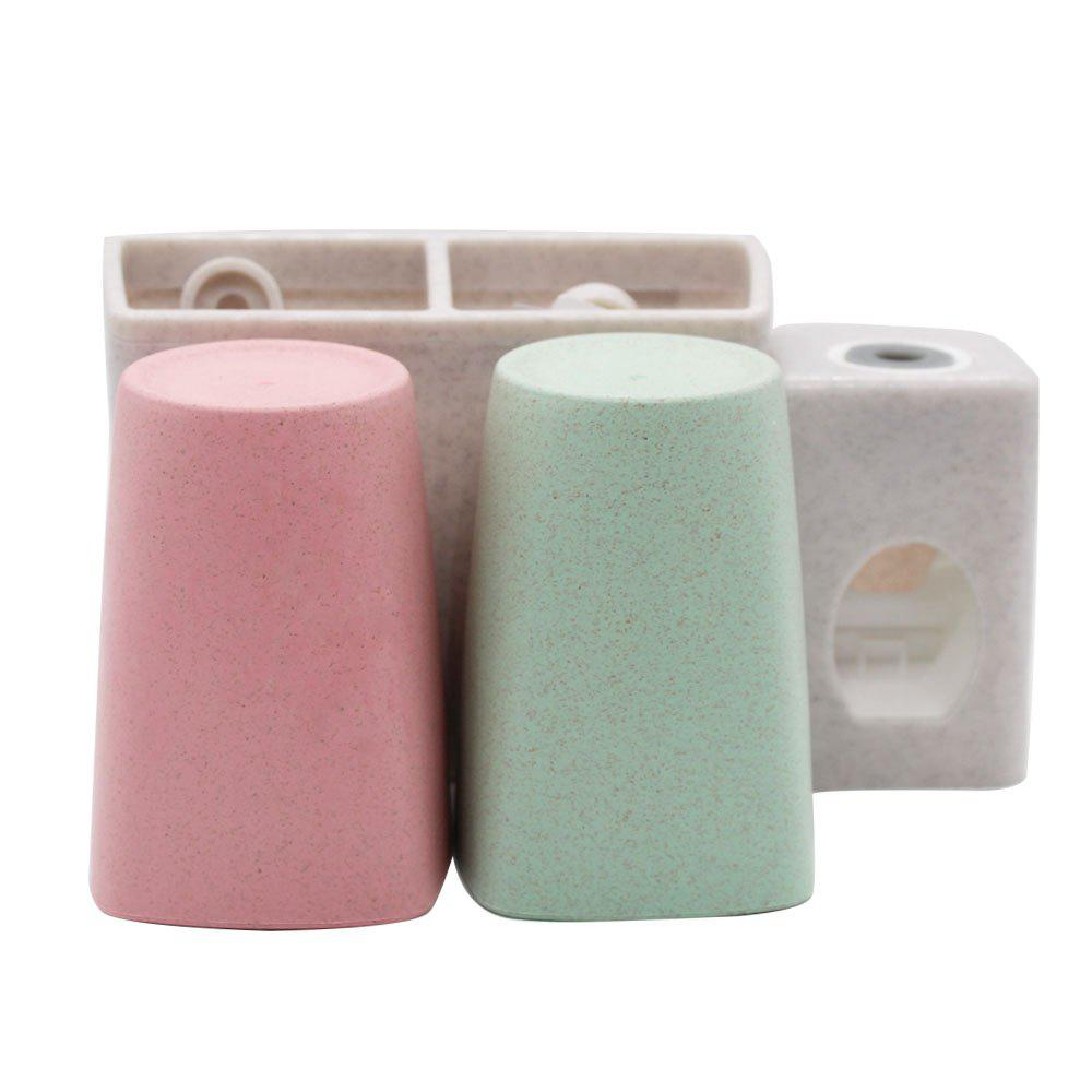 Wheat Toothbrush Holder Sucker Wash Set - multicolor
