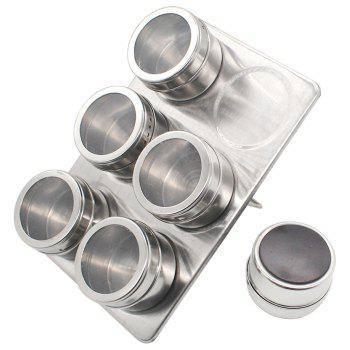 6-Piece Outdoor Barbecue Magnetic Visible Stainless Steel Cruet - SILVER