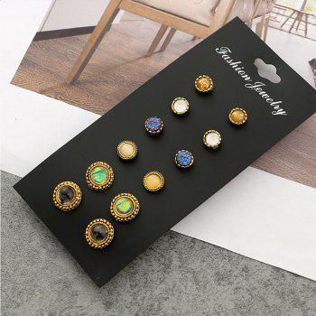 6 Pairs of Round Full Drill Small Ear Studs Suit - GOLD