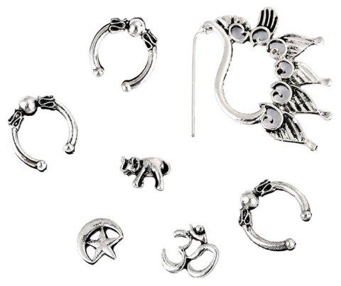 7PCS Punk Moon and Star Ear Studs - SILVER